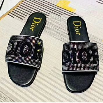 DIOR Fashion color diamond slippers