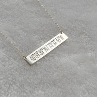 Engraved Coordinates Necklace,Latitude longitude Bar necklace,Silver Coordinate Necklace,Horizontal Bar Jewelry,Custom Bar Necklace