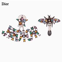 DIOR Fashion New Multicolor Diamond  Letter Bee Long Earring Women