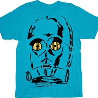 Star Wars Threepeeoh Face Adult Turquoise Blue T-Shirt  - Star Wars - | TV Store Online