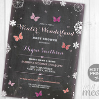 Winter Wonderland Baby Shower Girl Pink Butterfly Invitations Invite Chalk INSTANT DOWNLOAD Christmas Personalize Party Editable Printable