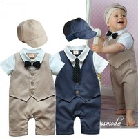 2pcs Baby Boys Infant Toddlers Gentleman suit Hat+bodysuit Romper Clothes Outfit