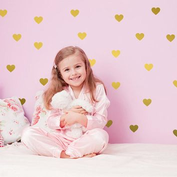 45pcs Art Silver Gold Little Hearts Wall Stickers Wall Decals Removable home decoration art Wall Decals for Kids Room decor
