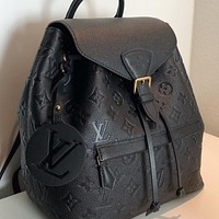 LV Louis Vuitton Montsouris embossed logo backpack