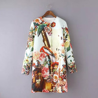 Animal Floral Print Long-Sleeve Button Coat
