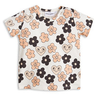 Mini Rodini Flower SS Tee, Off White