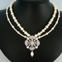 The Auryn Pearl Bridal Necklace by PenelliBelle on Etsy