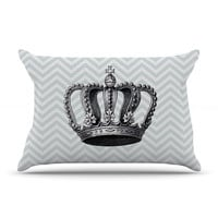 "Suzanne Carter ""Crown"" Blue Black Pillow Case"