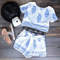 boho print set by reverse - ivory/blue