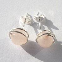 925 Sterling Silver Wire Wrapped Rose Quartz Stud Earrings