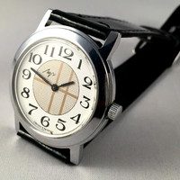 """Vintage Men's """"RAY"""" (LUCH) wristwatch. Unusual dial, round face, Soviet watch. Gift for him"""