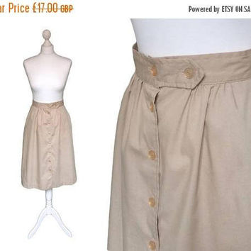 On Sale Flared Button Down 70's Midi Skirt | 1970's Skirt | Workers Union Label Made In USA