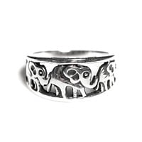 Sterling Silver Open Elephant Band