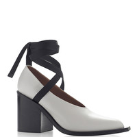 Natural Grey Vitello Leather Lace Up Pump