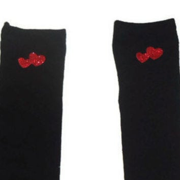 One Size Red Hearts Valentines Day Black Knee High Womens Socks