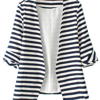 Blue and White Stripes Roll Up Sleeve Slim Blazer