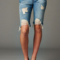 Cut Out Bermuda Denim Shorts Light Wash