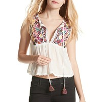 Free People - Lohri Embroidered Tassel Top in Ivory