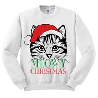 White Crewneck Meowy Christmas Merry Cat Kitten Ugly Christmas Sweatshirt Sweater Jumper Pullover