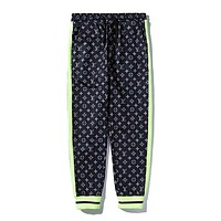 LV fashion couples casual pants hot selling color contrast color pants with small feet #1