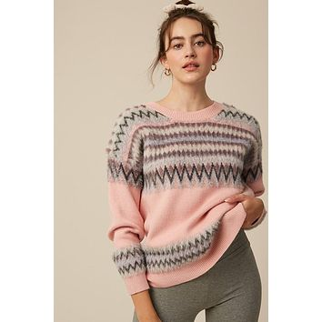 Fuzzy Mix Print Pullover Sweater