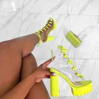 Women Fashion Open Toe Neon/Black/White Transparent Ankle Summer Boots