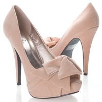 Qupid Women's NYDIA119 Open Peen Toe Bow Platform High Heel Stiletto Pump Shoes, Nude Beige Faux Suede,Nydia-119 Nude Beige 8