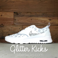 Nike Air Max Thea Print Running Shoes By Glitter Kicks - Customized With Swarovski Crystal Rhinestones - White/Gray/Platinum Leopard Print