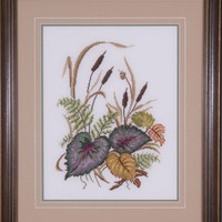 Botanical Cross Stitch Framed Picture - Autumn Bulrush and Coleus in Neutral Colors