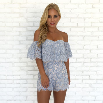 Baby Blue Blooms Lace Romper