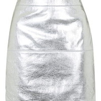 **Metallic Silver Leather Skirt By Kendall + Kylie at Topshop