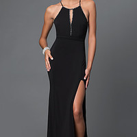 Floor Length Black Open Back Prom Dress with Bow Detail