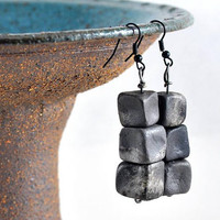 Black Ceramic Cube Earrings Unique Handmade Jewellery in handmade felt jewelry pouch Gift for Her by Dawn Whitehand