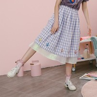 Vintage Plaid Cotton Voile Cute Bears Embroidered Hem Elastic Waist Summer New Calf Length A-line Skirts Women Cute Ladies Skirt