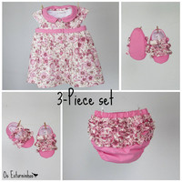 Baby Girl  Outfit - Floral Pink dress and ruffled pink baby diaper cover  and bay booties - 3-piece set