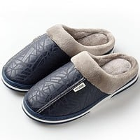 Men's Winter Leather Thick With Plush Home Waterproof Flats Warm Indoor Non-slip Slippers