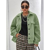 Button Front Solid Teddy Coat