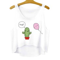 Prickly Cactus and Balloon Hug Crop Top Tee in White | DOTOLY