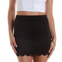 Black Scalloped Bodycon Mini Skirt by Charlotte Russe