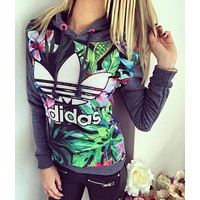 Adidas Fashion Multicolor Print Sport Top Sweater Sweatshirt Hoodie