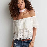 AEO Textured Off-The-Shoulder Top, Chalk