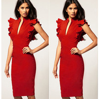 Best Sale!! New Sexy Women Cap Ruffle Sleeve Deep V-neck Bodycon Straight Pencil Knee-Length Party Dress