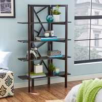 Display Shelf Bookcase with 4 Storage Shelves in Espresso Wood Finish