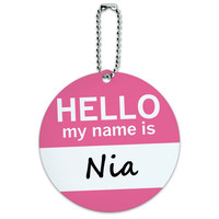 Nia Hello My Name Is Round ID Card Luggage Tag