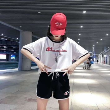 """Champion"" Woman's Leisure  Fashion Letter Personality Printing Spell Color Short Sleeve Shorts Two-Piece Set Casual Wear"