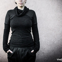 TRANTOR - Black Industrial Dystopian Sweater Grunge Urban Decay Long sleeves high neck Fall Winter