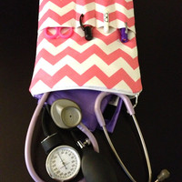 PINK chevron NURSE PURSE medical case, stethoscope and bp cuff - shown in pink and white (medical pouch, pockets for penlight and tools)