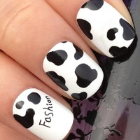 Adored - NAIL ART STICKERS/TATTOO/WRAP WATER TRANSFERS DECALS BLACK COW SPOTS ANIMAL PRINT