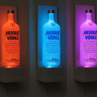 Absolut Vodka Wall Mount Color Changing LED Remote Controlled Eco Friendly rgb LED Bottle Lamp/Bar Light - Sconce -Bodacious Bottles-