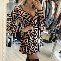 FENDI Women Retro Long Sleeve Dress